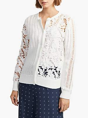 163baef1e8f7bc French Connection Floral Patchwork Cardigan, Summer White