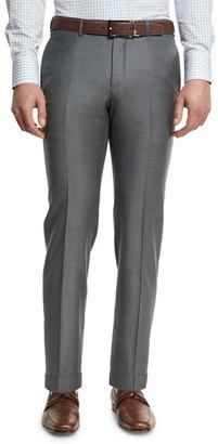 Ermenegildo Zegna Trofeo Flat-Front Trousers, Gray $695 thestylecure.com