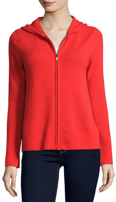 Neiman Marcus Cashmere Collection Zip-Front Drawstring Hoodie $345 thestylecure.com