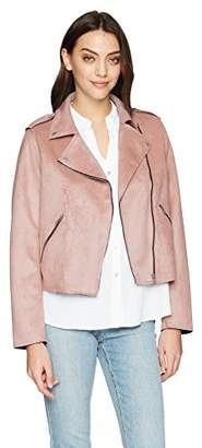 Members Only Women's Vegan Suede Biker Jacket