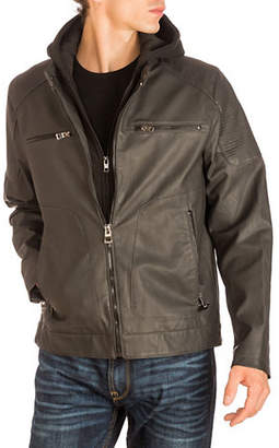 GUESS Faux Leather Hooded Jacket
