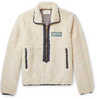 Holiday Boileau Yvon Logo-Appliqued Shell-Trimmed Fleece Half-Zip Jacket - Men - Neutrals