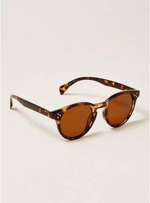 Topman Mens Brown Tortoiseshell Round Sunglasses