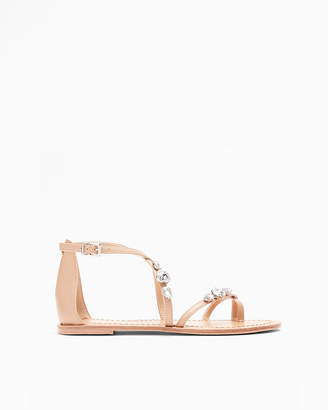Express Crisscross Stone Ankle Strap Sandals