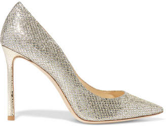 Jimmy Choo Romy 100 Glittered Leather Pumps - Gold