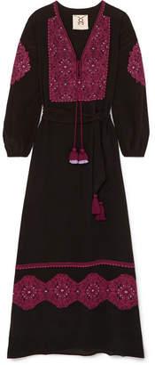 Figue Anika Embroidered Silk-georgette Maxi Dress - Black