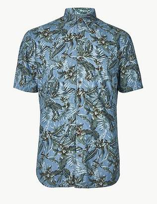 Marks and Spencer Pure Cotton Flower Print Shirt