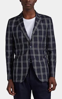 Officine Generale Men's Plaid Silk Seersucker Two-Button Sportcoat - Black