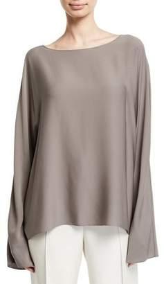 The Row Dylia Bell-Sleeve Stretch Silk Blouse