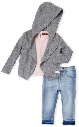 7 For All Mankind Infant Girls) 3-Piece Ribbed Hooded Flyaway Cardigan & Skinny Jeans Set
