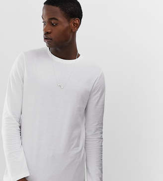 84ad7e699c0 Asos Design DESIGN Tall organic long sleeve t-shirt with crew neck in white