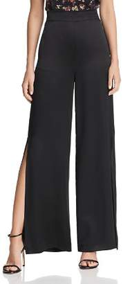 CAMI NYC Miles Side-Slit Wide-Leg Silk Pants