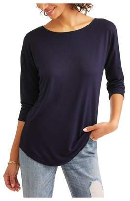 Time and Tru Women's 3/4 Sleeve Classic Boatneck T-Shirt