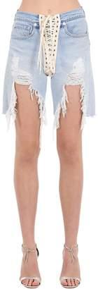 R 13 Destroyed Lace-up Cotton Denim Shorts