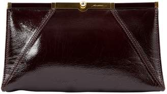 Brian Atwood Brown Patent leather Clutch Bag