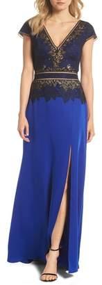 Tadashi Shoji Violette Lace & Crepe Gown