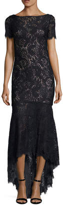 Theia Lace Scalloped High Low Gown