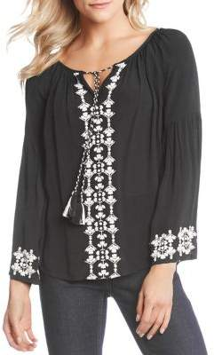 Karen Kane Embroidered Double Tassel Pebble Crepe Top