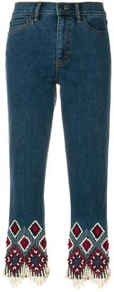 Tory Burch embroidered cuff jeans