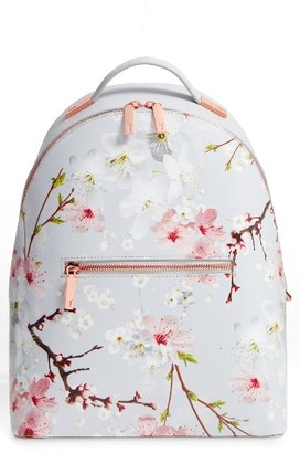 Ted Baker London Flower Print Leather Backpack - Grey $269 thestylecure.com