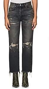 Adaptation Women's Distressed Wide-Leg Crop Jeans - Black Size 28