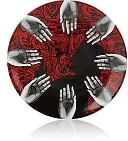 Fornasetti Hand-Motif Porcelain Wall Plate - Wht.&blk.&red