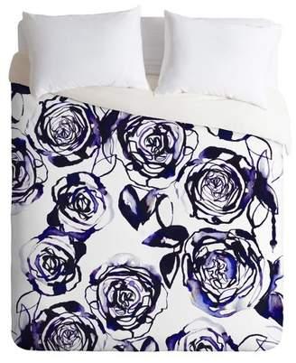 Deny Designs Holly Sharpe Inky Roses Duvet Cover Set Purple