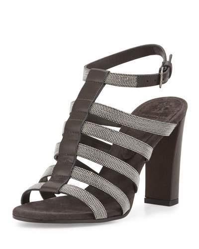 Brunello Cucinelli Monili Caged High-Heel Sandal, Onyx