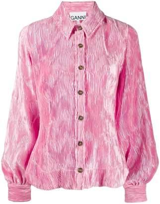 Ganni pleated satin blouse