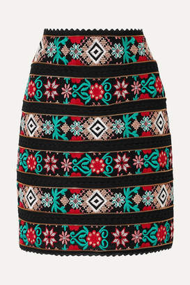 Costarellos Zip-detailed Embroidered Voile And Crocheted Lace Mini Skirt - Black