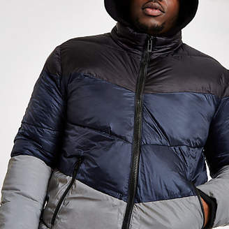 River Island Big and Tall blue reflective puffer jacket