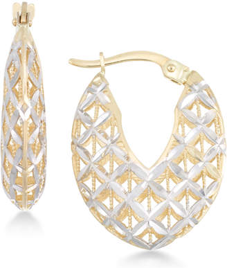 Macy's Openwork Two-Tone Chunky Hoop Earrings in 14k Gold and White Gold