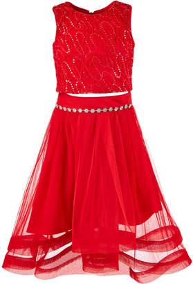 Beautees Big Girls 2-Pc. Embellished Soutache Top & Skirt Set