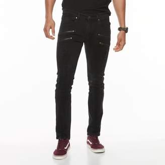 Moto Rawx Men's RawX Slim-Fit Washed Zippered Stretch Jeans