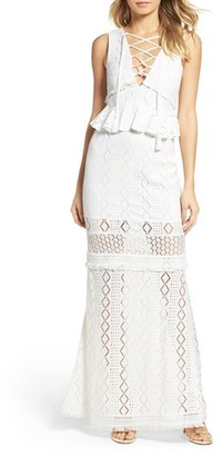Women's Foxiedox Aria Lace-Up Crochet Gown $178 thestylecure.com