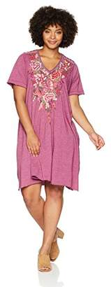 Johnny Was JWLA By Women's Plus Size Draped Tunic T-Shirt Dress with Embroidery