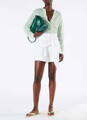 Tibi Compact Cotton Shorts wth Removable Tie