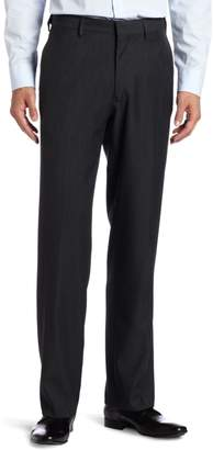 Haggar Men's Flex Gab Heather Plain Front Expandable Waistband Straight Fit Dress Pant