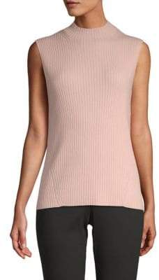 St. John Ribbed Cashmere Top