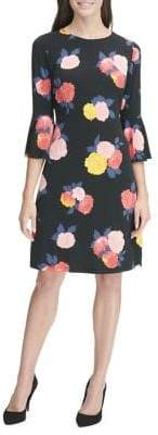 Tommy Hilfiger Floral-Print Bell-Sleeve Jersey A-line Dress
