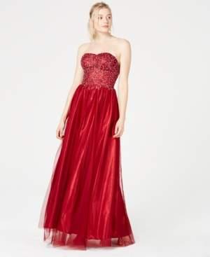 Sequin Hearts Juniors' Strapless Rhinestone Gown