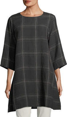 Eileen Fisher Plus Size Organic Linen Plaid Tunic