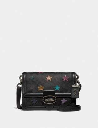 Coach Riley Shoulder Bag In Signature Canvas With Star Applique And Snakeskin Detail