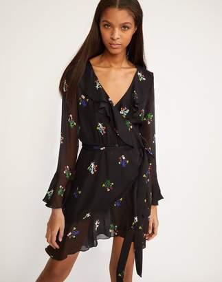 Cynthia Rowley Black Floral Malibu Ruffle Wrap Dress