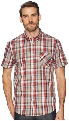 Ben Sherman Short Sleeve Madras Plaid Shirt Men's Clothing