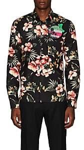 Valentino Men's Embellished Floral Cotton Shirt - Black