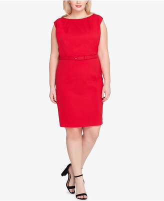 Tahari ASL Plus Size Belted Cap-Sleeve Sheath Dress