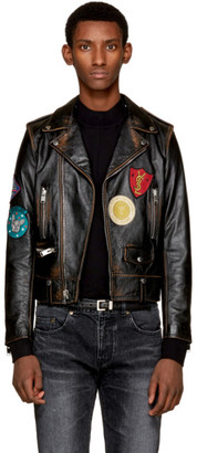 Saint Laurent Black Leather Multi-Patch Motorcycle Jacket $5,990 thestylecure.com