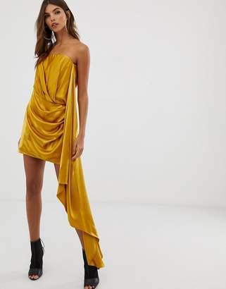 Asos Edition EDITION satin bandeau mini dress with drape side