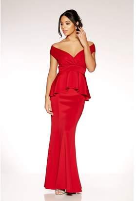 Quiz Red Wrap Front Peplum Fishtail Maxi Dress